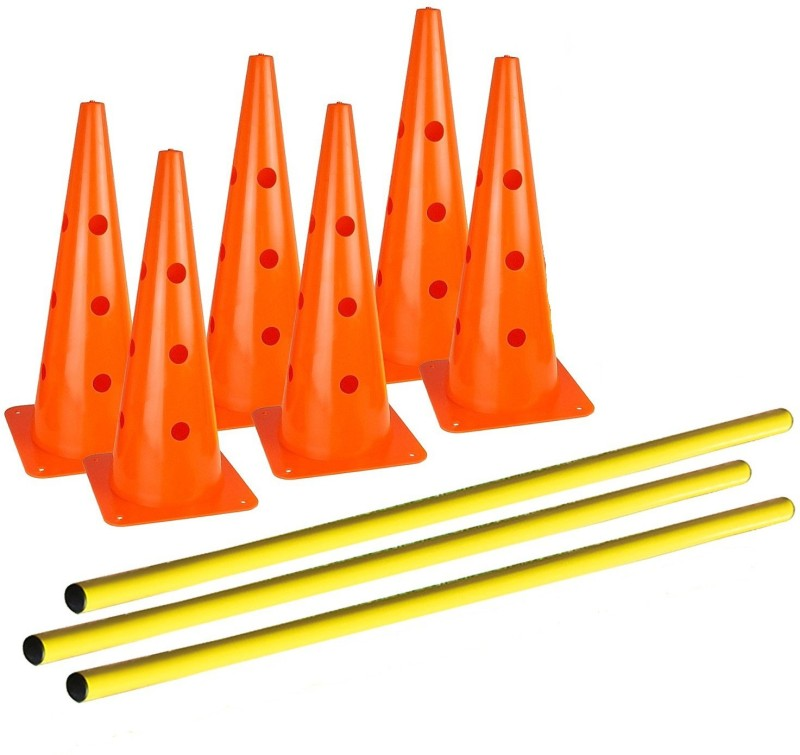 Sahni Sports 15 Inches Cone Hurdles Set of Six Cones And Three Poles, Plastic Speed Hurdles(For Adults, Children Pack of Pack of 3)