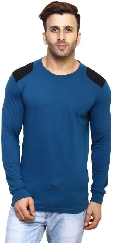 Inkovy Solid Men's Round Neck Light Blue, Black T-Shirt