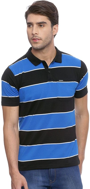 Proline Color block Men Polo Neck Black, Blue T-Shirt