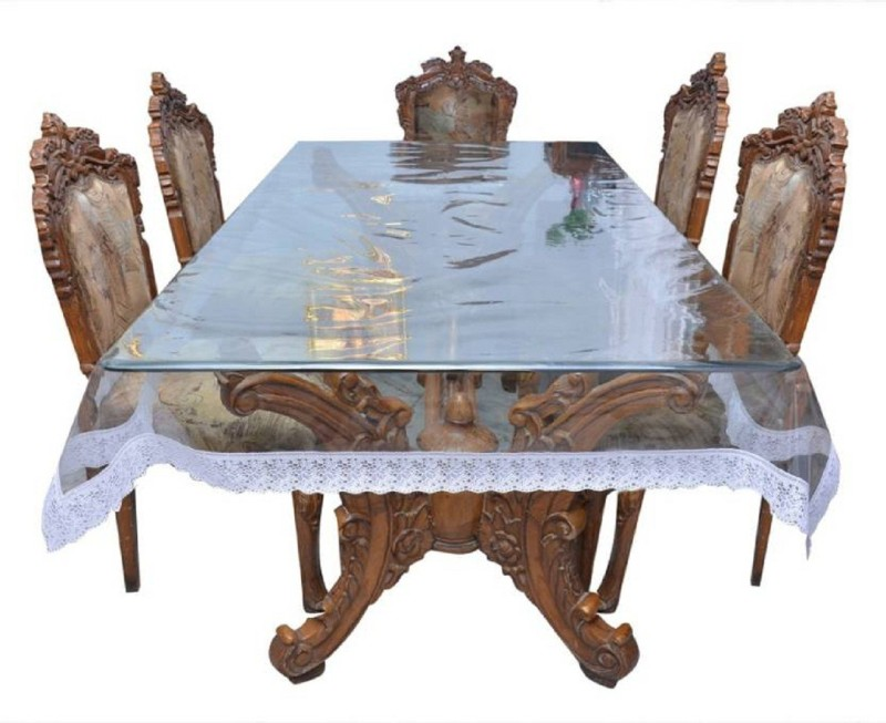 Micra Solid 6 Seater Table Cover(Transparent, PVC)