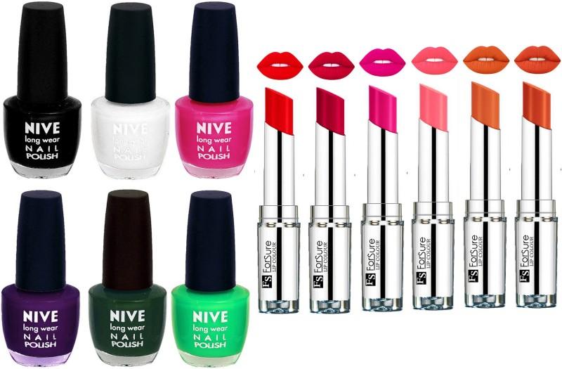 ForSure Velvet Matte Lipsticks + Nive Nail Polish Combo(Set of 12)