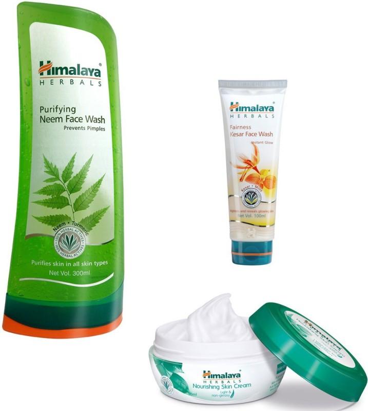 Himalaya Purifying Neem Face Wash, Fairness Kesar Face Wash, Nourishing Skin Cream(Set of 3)
