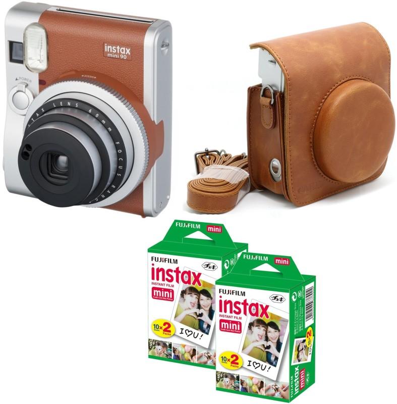 Fujifilm Mini 90 Brown with Brown case & 40 Shots Instant Camera(Black) Brown with Brown case & 40 Shots