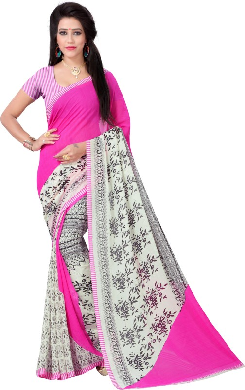 Vimalnath Synthetics Floral Print Fashion Georgette Saree(Pink)