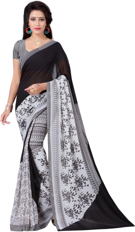 Vimalnath Synthetics Floral Print Fashion Georgette Saree(Black)