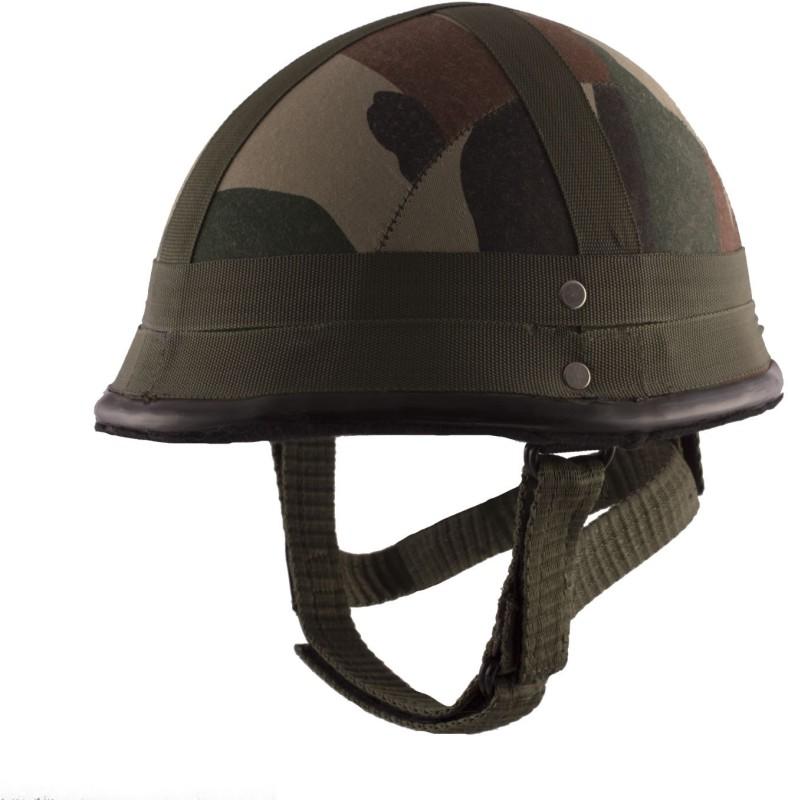 Autofy Camouflage German Helmet with Detachable Strap Motorbike, Motorsports Helmet(Green)
