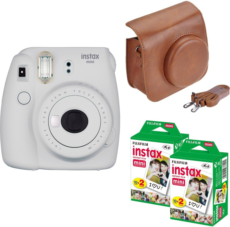 Fujifilm Mini 9 Smokey White with Brown case 40 Shots Instant Camera(White) image