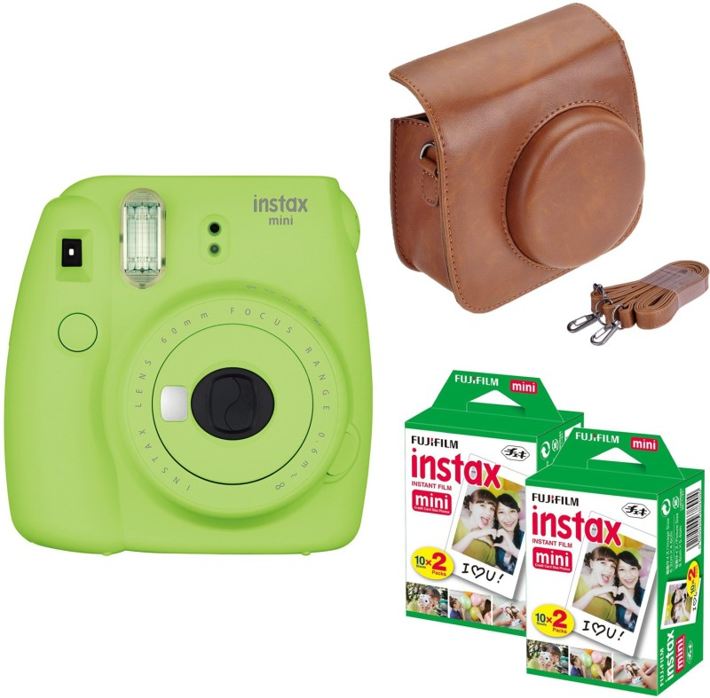 Fujifilm Mini 9 Lime Green with Brown case 40 Shots Instant Camera(Green) image