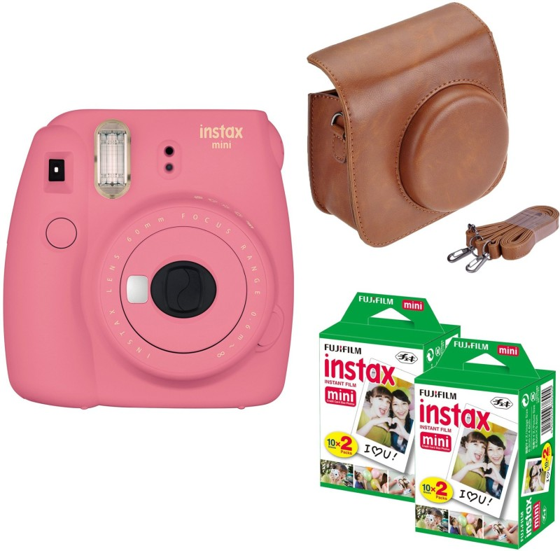 Fujifilm Mini 9 Flamingo Pink with Brown case 40 Shots Instant Camera(Multicolor) image