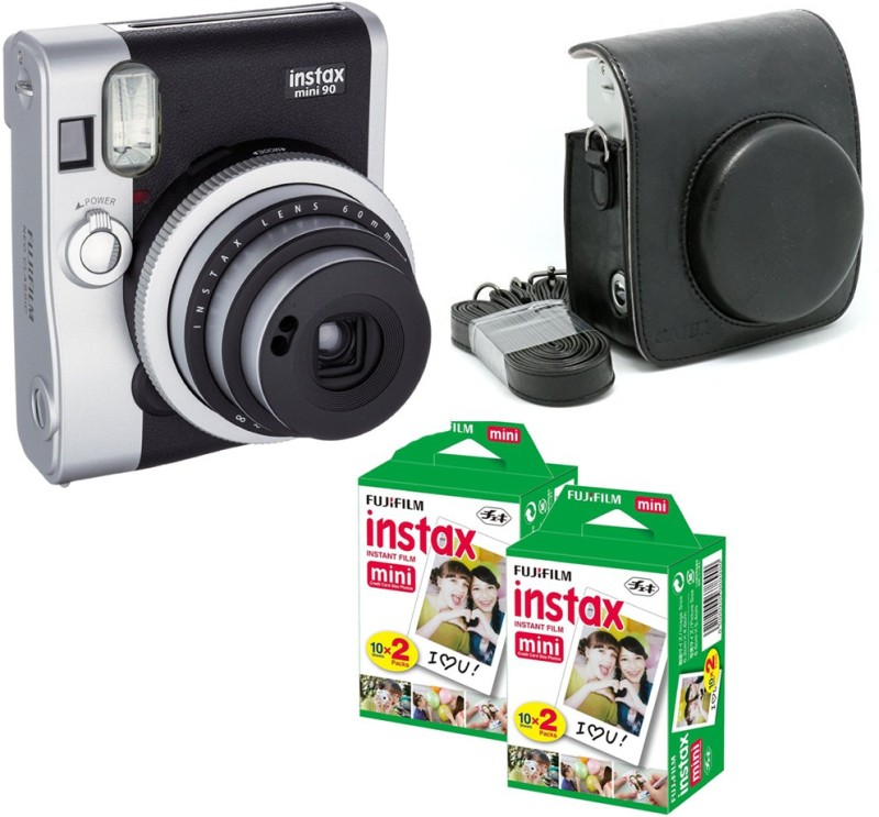 Fujifilm Mini 90 Black with Black case & 40 Shots Instant Camera(Black) image