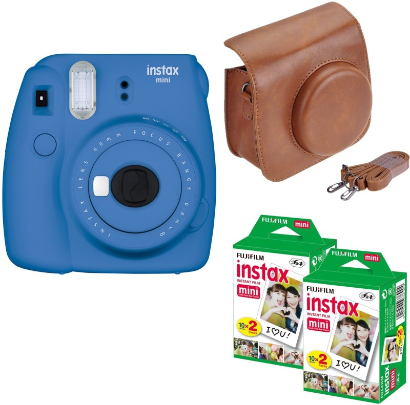 Fujifilm Mini 9 Cobalt Blue with Brown Case and 40 Shots Instant Camera(Blue) image