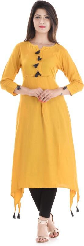 Stylum Casual Solid Women Kurti(Yellow, Black, Grey)