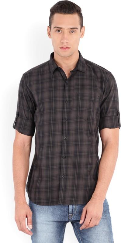 Highlander Men's Checkered Casual Grey Shirt