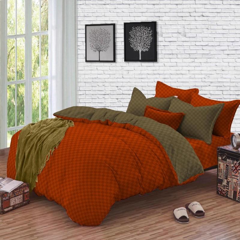 BLUSH 250 TC Cotton Double King Checkered Bedsheet(1Double Bed Sheet (274 x 274cm), 4 Pillow Cover (46 x 68 cm), APRICOT ORANGE)