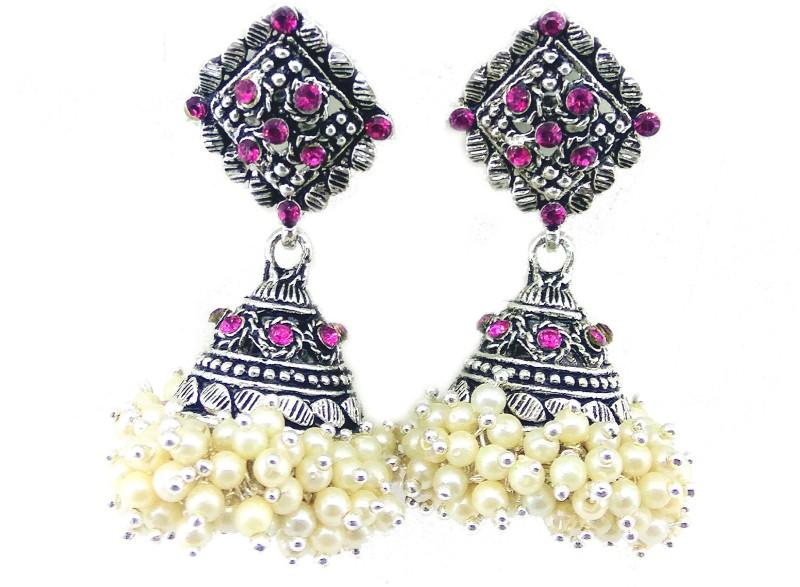 Jaisvi Collection Trendy Off White Alloy Jhumki For Women,BCJ-6 Alloy Jhumki Earring