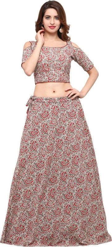 Inddus Cotton Printed Semi-stitched Lehenga Choli Material