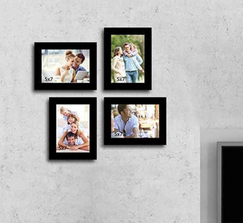Photo Frame Wood Photo Frame(Black, 4 Photos)