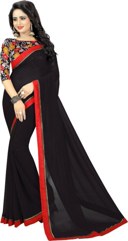 Aruna Sarees Solid, Plain Fashion Georgette Saree(Black)