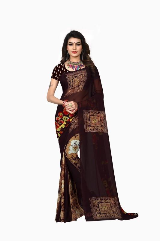Active Printed Bollywood Silk Saree(Multicolor)