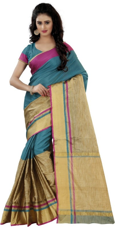 Trendz Style Striped Fashion Tussar Silk Saree(Light Blue)