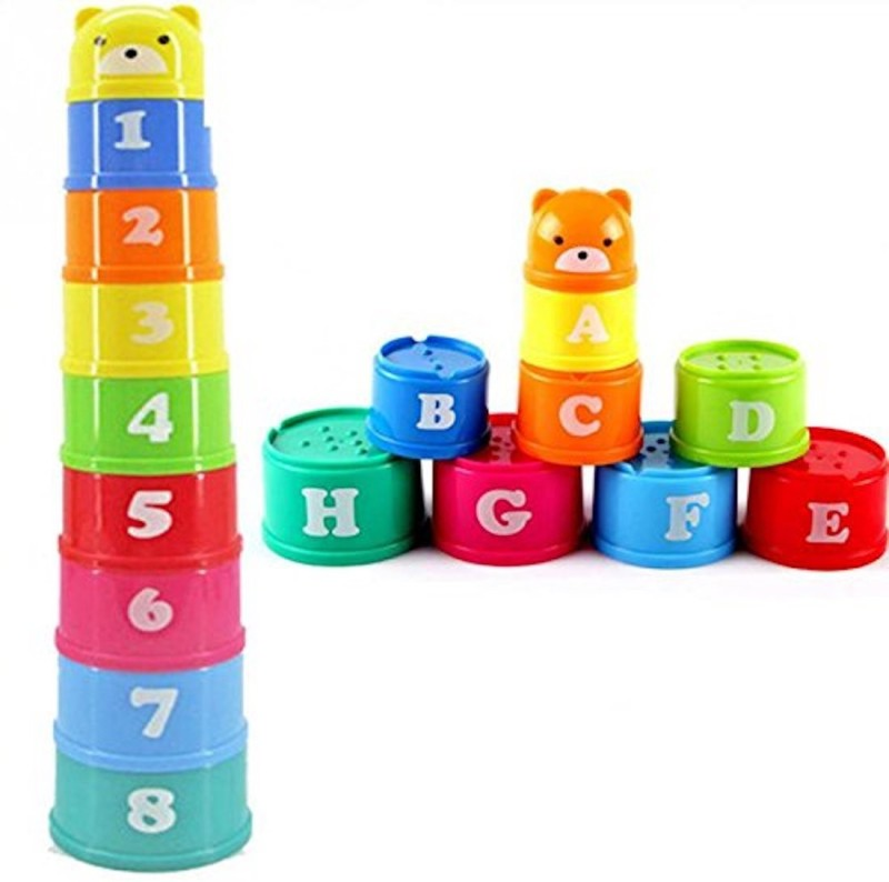 iDream 9pcs Stack & Nesting Cup With Letters Numbers Figure(Multicolor)