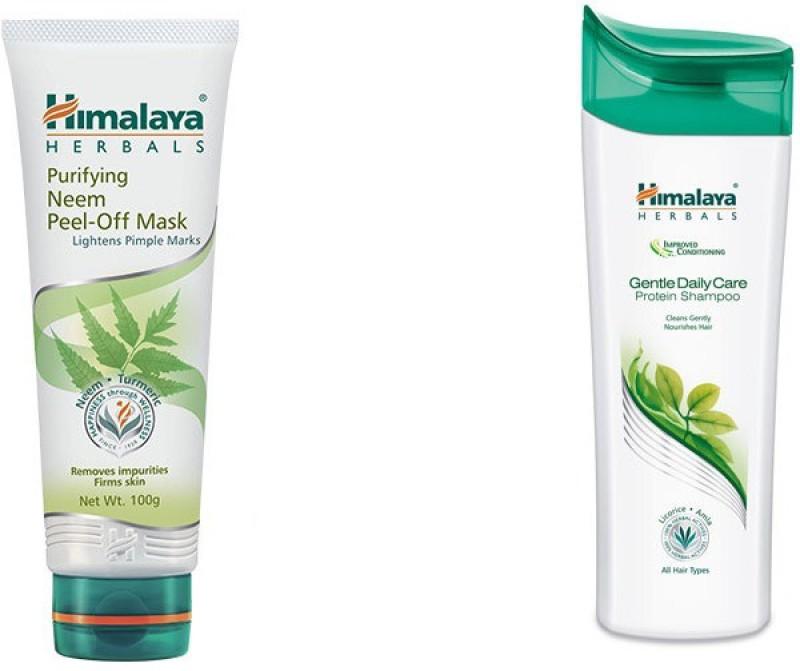 Himalaya Purifying Neem Peel Off Mask, Gentle Daily Care Protein Shampoo(Set of 2)