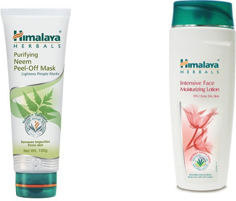 Himalaya Purifying Neem Peel Off Mask, Intensive Face Moisturizing Lotion(2 Items in the set)
