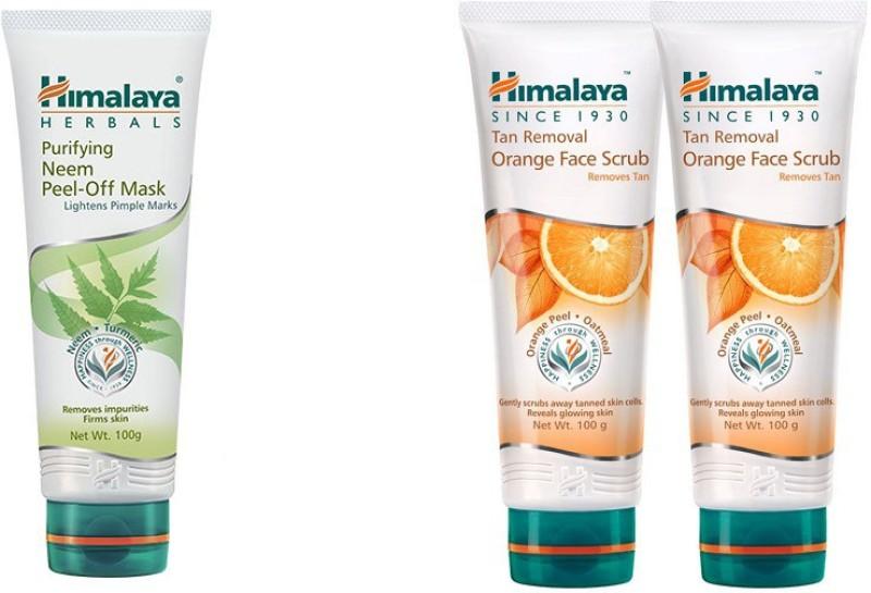 Himalaya Tan Removal Orange Face Scrub, Purifying Neem Peel Off Mask, Tan Removal Orange Face Scrub(Set of 3)