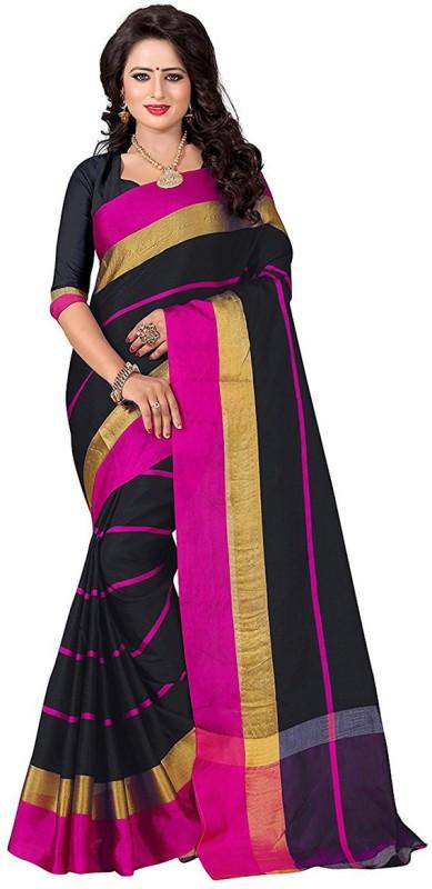 Awesome Striped Chanderi Handloom Cotton Saree(Pink)