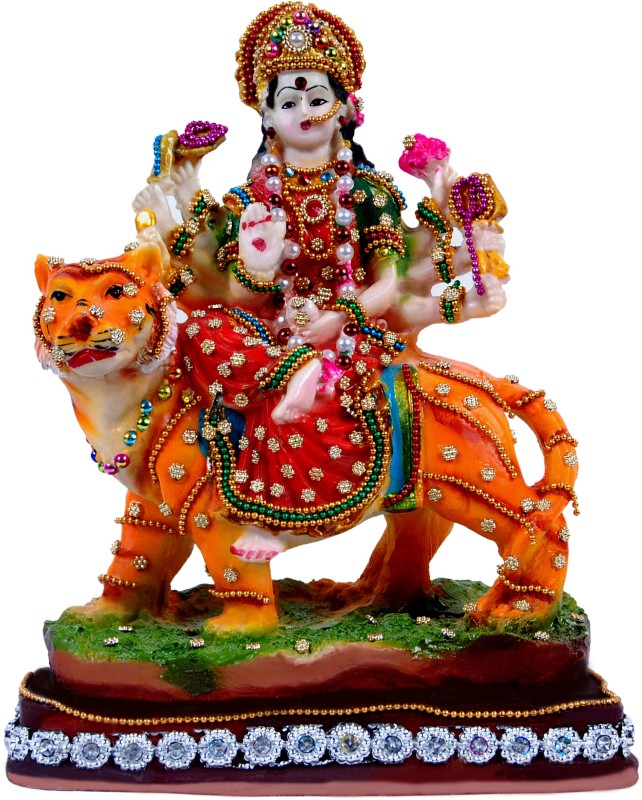 Green Value Hindu God made polyresin with Jewellery work Lord Goddess Bhagwan MAA Durga devi/Maa Sherawali/Navratri Pooja/Kali Durga/Navratri Puja/Mata Rani Vastu idol Home décorative Puja Handicraft Spiritual statue figureine Sculpture-Religious Pooja Gift items & Murti for Mandir /Temple/Home Déco