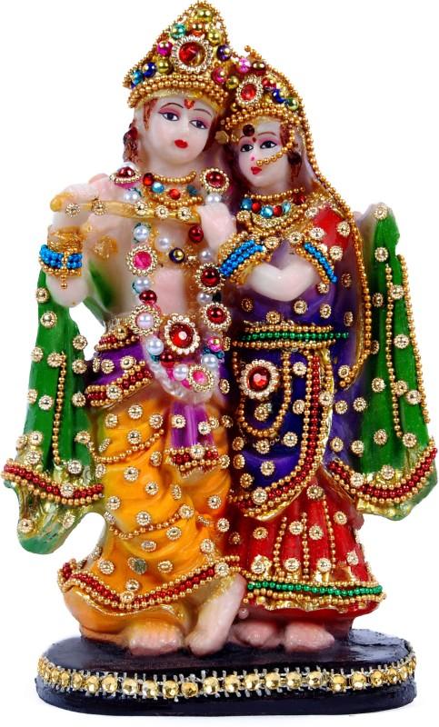 Green Value Hindu God made Polyresin with jewellery work Lord Goddess Bhagwan Radha Krishna/Radha Krishan/Radhey Krishan/Shyam/Bankey Vihari/Giridhar/Gopala/Balakrishna Vastu idol Home décorative Puja Handicraft Spiritual statue figureine Sculpture-Religious Pooja Gift items & Murti for Mandir /Temp