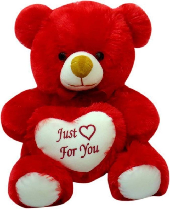 AVS Stuffed Spongy Hugable Cute Teddy Bear with Heart Just For You (Red Color) - 45 cm(Red)