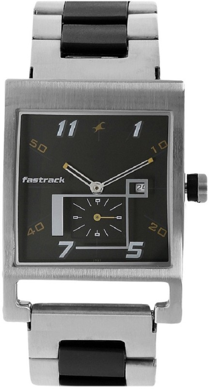 Fastrack Black Dial Stainless Steel Watch  - For Boys