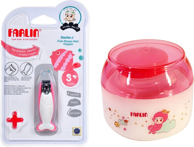 Farlin Free Drop Powder Puff with Fish Nail Clipper (Combo Pack)-Pink(Pink)