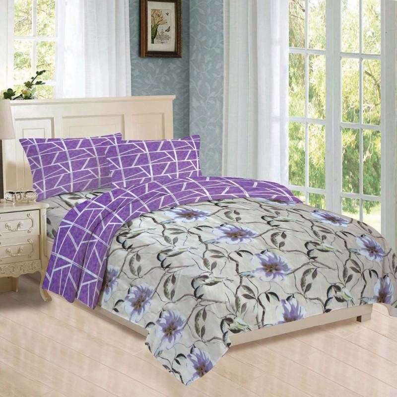 BLUSH 144 TC Cotton Double Floral Bedsheet(Pack of 1, Blue)