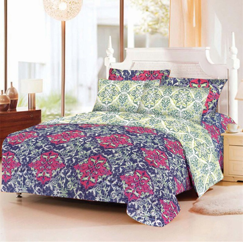 BLUSH 180 TC Cotton Double Geometric Bedsheet(Pack of 1, RED BLUE)
