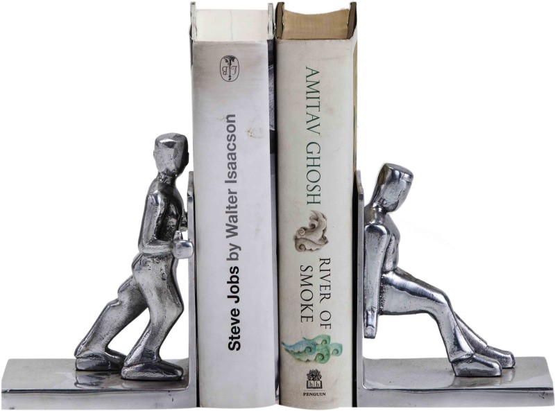 sammsara Sammsara Decorative Working Men Bookend Set of 2   Unique Heavy Metal Bookends for Office décor,Kitchen,Living Room,Home Aluminium Book End(Silver, Pack of 2)