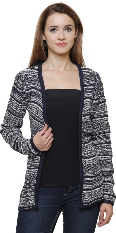 MansiCollections Women No Closure Striped Cardigan