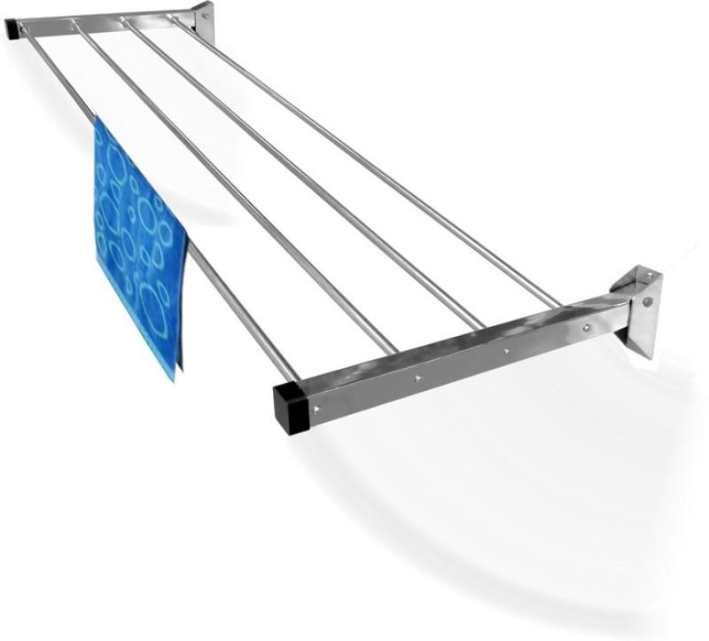 Homwell 4 Pipe X 3 feet (Lifetime Warranty) Steel Wall Cloth Dryer Stand(Silver)