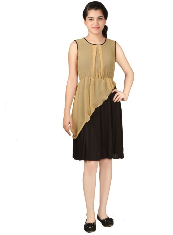 VR Designers Women Layered Black, Beige Dress