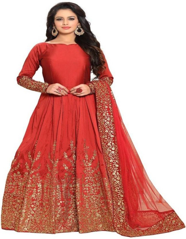 Aryan Fashion Store Silk Embroidered Semi-stitched Salwar Suit Dupatta Material
