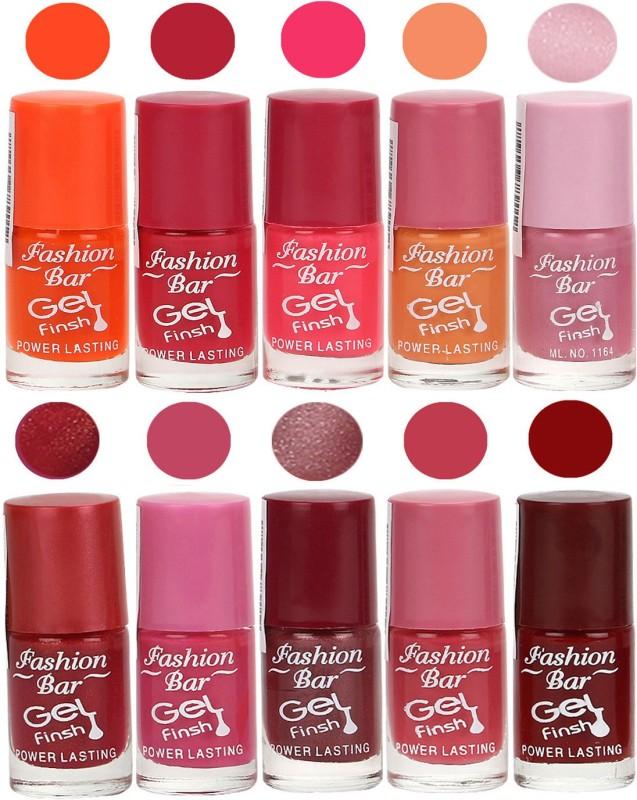 Fashion Bar Velvet Gel Finish Nail Polish Orange, Pink, Purple, Red, Pink, Brown(60 ml, Pack of 10)