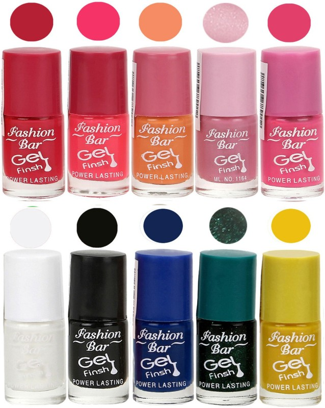 Fashion Bar Velvet Gel Finish Nail Polish Red, Pink, Purple, Pink, White, Black, Blue, Green, Yellow(60 ml, Pack of 10)