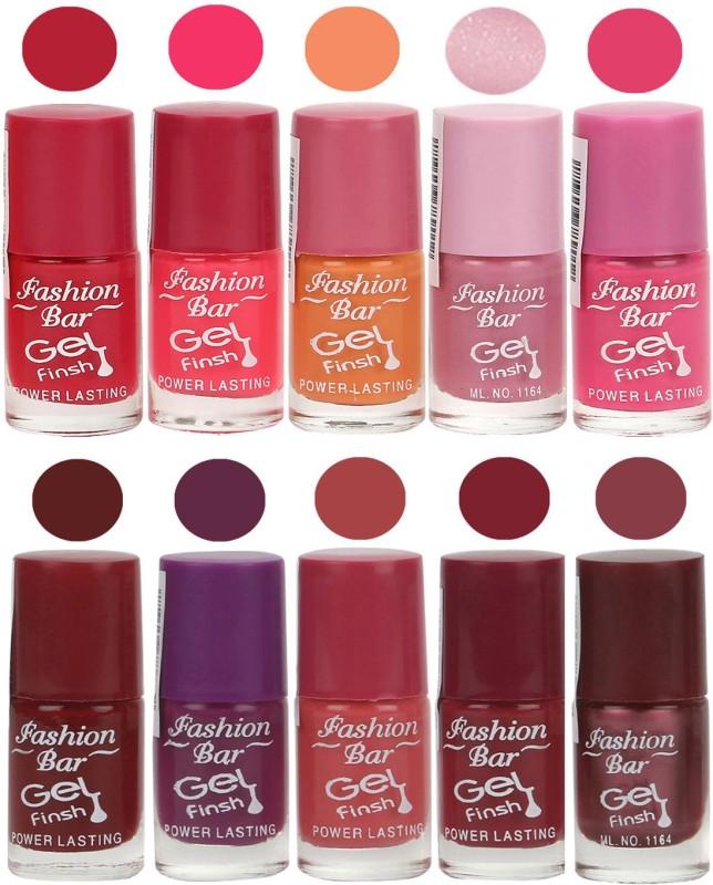 Fashion Bar Velvet Gel Finish Nail Polish Red, Pink, Purple, Pink, Purple(60 ml, Pack of 10)