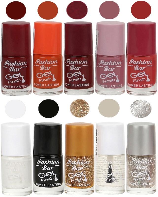 Fashion Bar Velvet Gel Finish Nail Polish Red, Orange, Purple, Pink, White, Black, Gold, Clear, Grey(60 ml, Pack of 10)