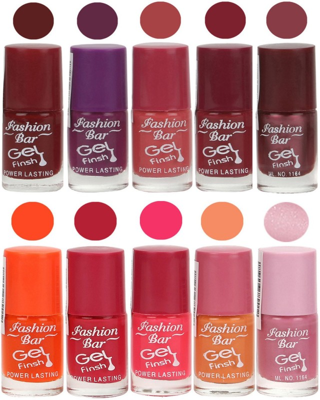 Fashion Bar Velvet Gel Finish Nail Polish Red, Purple, Pink, Orange, Purple(60 ml, Pack of 10)