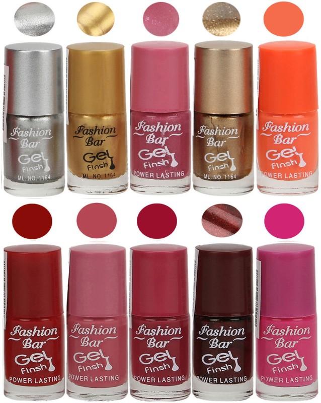 Fashion Bar Velvet Gel Finish Nail Polish Grey, Gold, Pink, Gold, Orange, Red, Pink, Brown, Pink(60 ml, Pack of 10)