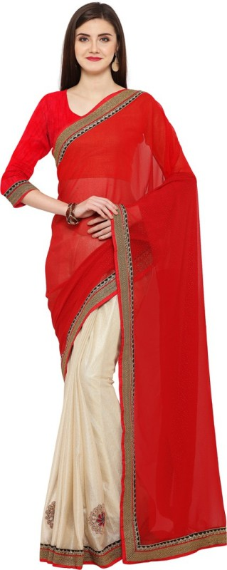 Saara Solid, Embroidered, Embellished Fashion Georgette, Shimmer Fabric Saree(Red, Beige)