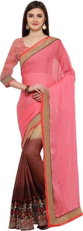 Saara Solid, Embroidered, Embellished Fashion Shimmer Fabric, Georgette Saree(Pink, Brown, Beige)