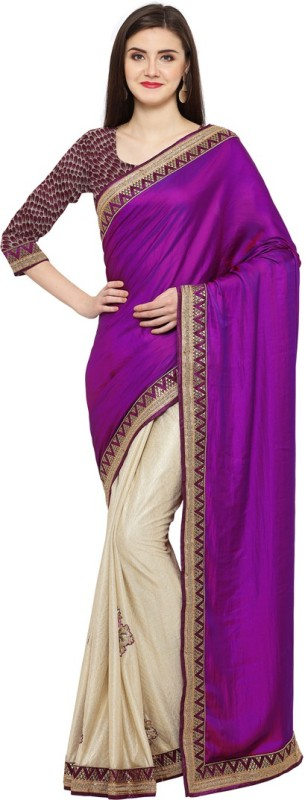 Saara Solid, Embroidered, Embellished Fashion Satin, Silk, Shimmer Fabric Saree(Purple, Beige)